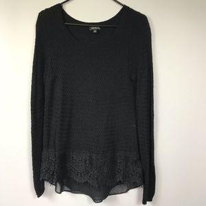 Lucky Brand Black Sweater Lace Chiffon Hem Sz M